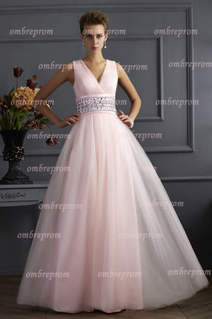 Pink A Line Floor Length Deep V Neck Sleeveless Organza Prom Dress,Party Dress