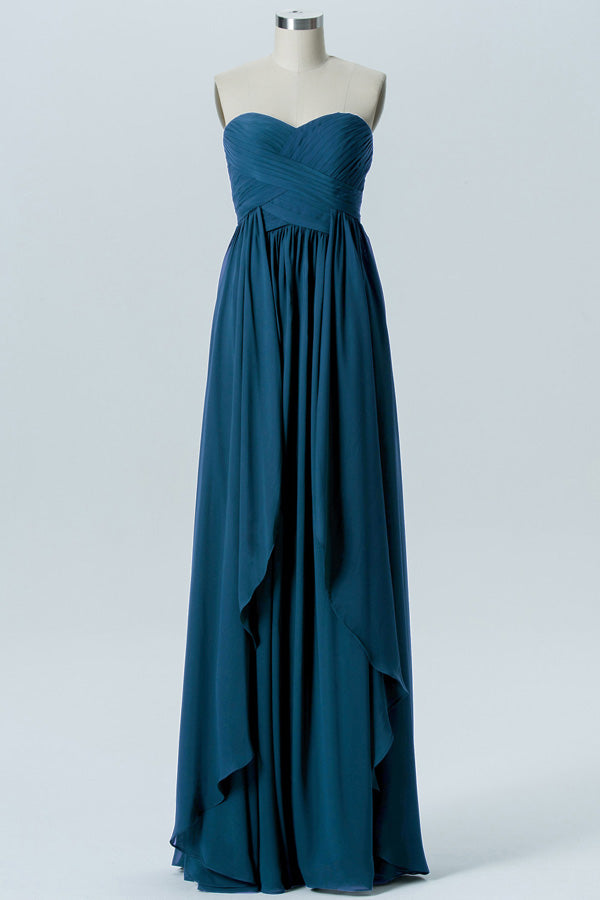 Winter Teal A Line Floor Length Sweetheart Strapless Mid Back Cheap Bridesmaid Dresses