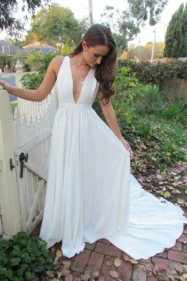 White A Line Court Train Deep V Neck Sleeveless Prom Dress,Wedding Dress
