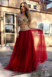 Red Two Piece A Line Floor Length Layers Appliques Prom Dress,Party Dress