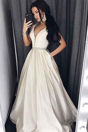 A Line Brush Train Deep V Neck Sleeveless Simple Prom Dress,Cheap Party Dress P512 - Ombreprom