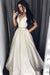 A Line Brush Train Deep V Neck Sleeveless Simple Prom Dress,Cheap Party Dress P512