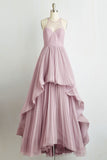 Pink A Line Floor Length Sheer Neck Sleeveless Sheer Back Long Prom Dress,Party Dress