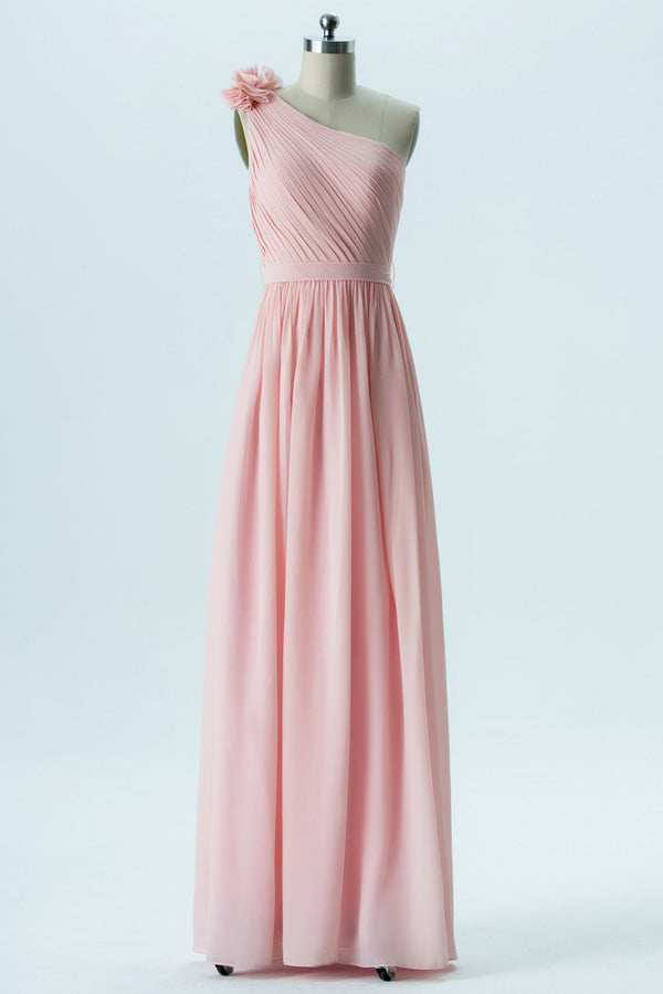 Soft Pink A Line Floor Length One Shoulder Sleeveless Open Back Cheap Bridesmaid Dresses