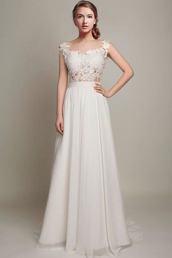 White A Line Brush Train Capped Sleeve Chiffon Wedding Dress,Beach Wedding Dress W207