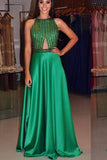 Green Halter Sleeveless Prom Dress,A Line/Princess Open Back Beading Evening Dress