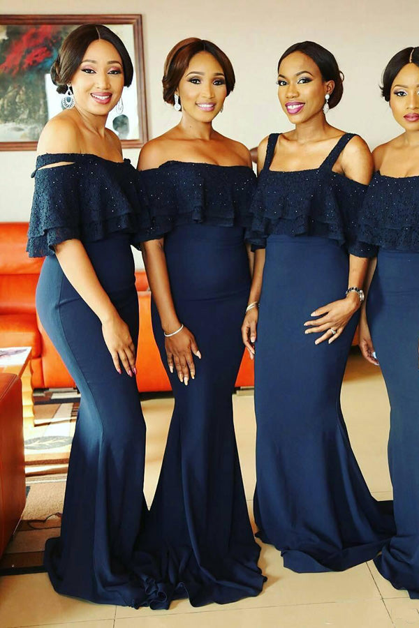 Navy Blue Sheath Brush Train Off Shoulder Appliques Bridesmaid Dress, Wedding Party Dress B343 - Ombreprom
