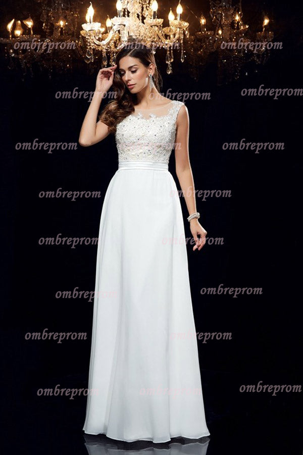 White A Line Floor Length Sleeveless Appliques Beading Chiffon Prom Dress,Party Dress