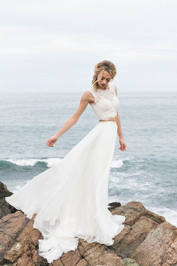 Two Piece White A Line Brush Train Sleeveless Lace Chiffon Wedding Dress,Beach Wedding Dress