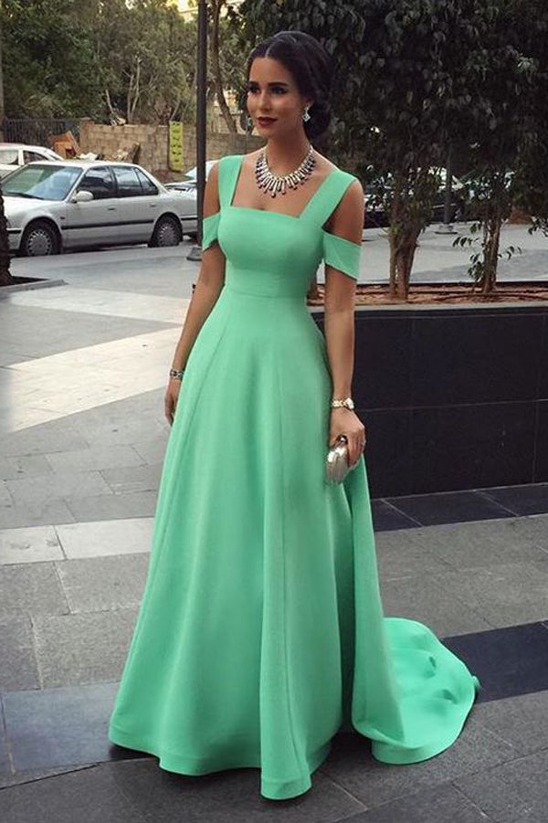 Green A Line Sweep Train Straight Sleeveless Simple Prom Dress,Formal Dress