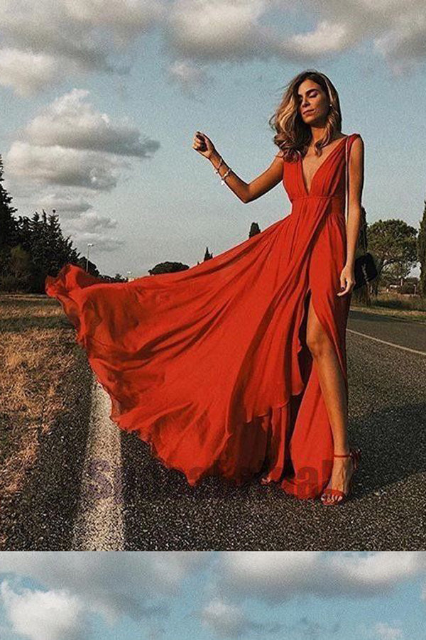 Red A Line Floor Length Deep V Neck Sleeveless Chiffon Side Slit Prom Dress,Party Dress