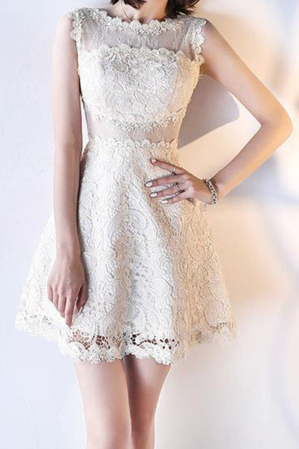 A Line Lace Round Neck Short Knee Length Homecoming Dress M496 - Ombreprom