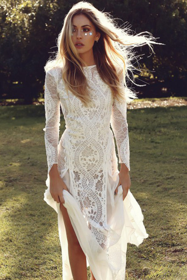 White Sheath Brush Train Long Sleeve Backless Lace Wedding Dress,Beach Wedding Dress