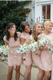 Pink Sheath Knee Length Jewel Neck Capped Sleeve Lace Appliques Cheap Bridesmaid Dress