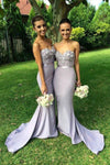 Lavender Mermaid Court Train Sweetheart Strapless Appliques Beading Cheap Bridesmaid Dresses