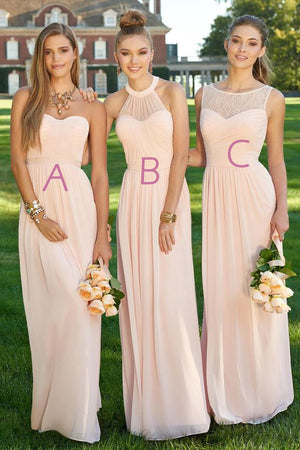 Pink A Line Floor Length Sleeveless Chiffon Simple Cheap Bridesmaid Dresses