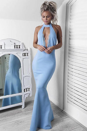 Blue Trumpet Floor Length Halter Sleeveless Cheap Prom Dress,Evening Dress P246 - Ombreprom