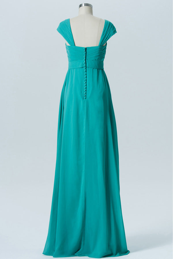 Marine Green A Line Floor Length Sweetheart Capped Sleeve Cheap Bridesmaid Dresses B178