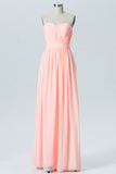 Peach Sherbet A Line Floor Length Sweetheart Spaghetti Mid Back Cheap Bridesmaid Dresses