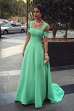 Elegant Mint Green A Line Sweep Train Simple Prom Dresses Pretty Fashion Dresses P276