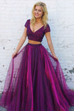 Two Piece A Line Floor Length Deep V Neck Short Sleeve Beading Long Prom Dress,Party Dress