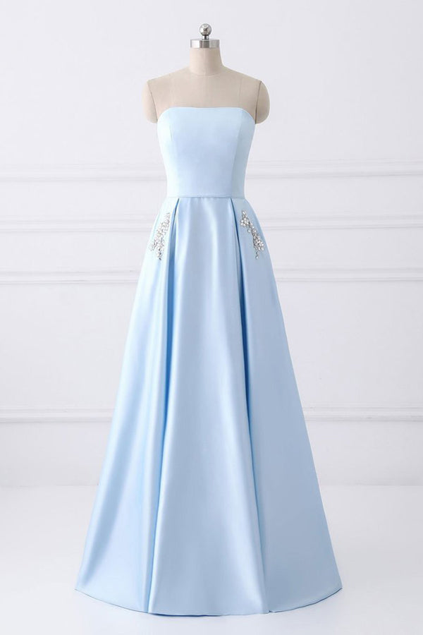 Light Blue A Line Floor Length Strapless Sleeveless Lace Up Prom Dress bbc59b7d8