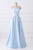 Light Blue A Line Floor Length Strapless Sleeveless Lace Up Prom Dress,Party Dress