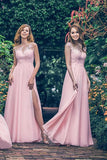 Pink A Line Floor Length Sleeveless Side Slit Bridesmaid Dress, Wedding Party Dress