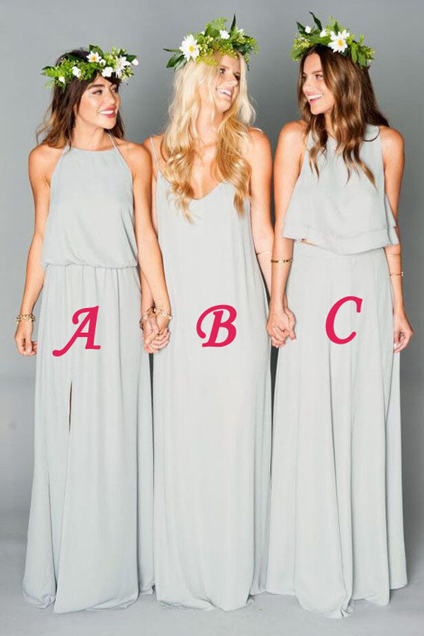 Gray A Line Floor Length Sleeveless Open Back Chiffon Cheap Bridesmaid Dresses