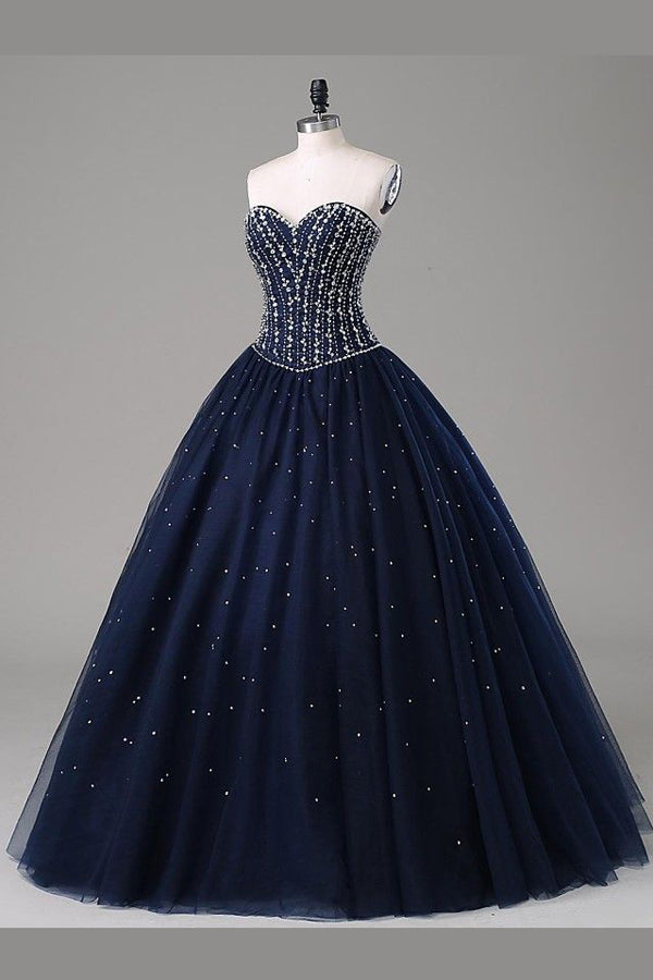 Navy Blue Ball Gown Floor Length Sweetheart Sleeveless Mid Back Prom Dress,Party Dress