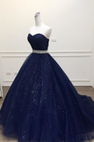 Navy Blue Ball Gown Court Train Sleeveless Mid Back Sparkle Prom Dress,Party Dress