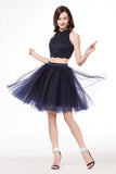Navy Blue Two Piece Halter Sleeveless Keyhole Back Beading Short Homecoming Dress