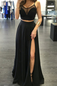 Black Two Piece A Line Floor Lenght Sleeveless Side Slit Chiffon Prom Dress,Party Dress P387 - Ombreprom