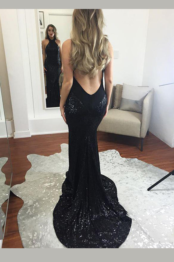 Black Sheath Sweep Train Halter Sleeveless Backless Saprkle Long Prom Dress,Party Dress P210 - Ombreprom