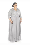 Gray A Line Floor Length Scoop Neck Zipper Back Pleats Mother of the Bride Dresses