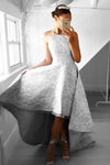 Gray A Line Asymmetrical Halter Sleeveless Lace Cheap Prom Dress,Formal Dress