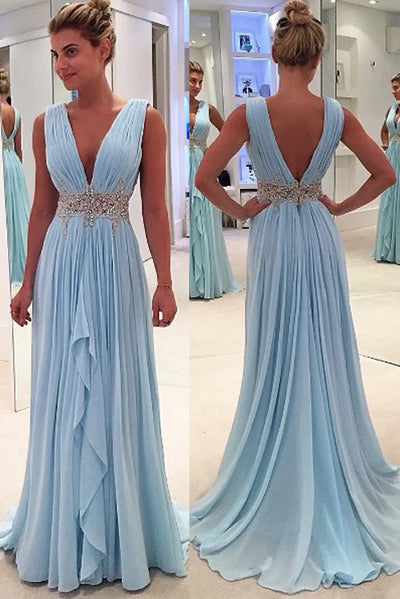 Blue A Line Floor Length Deep V Neck Sleeveless Deep V Back Beading Ruffles Prom Dress P72 - Ombreprom