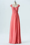 Dusty Coral A Line Floor Length Sweetheart Capped Sleeve Open Back Cheap Bridesmaid Dresses