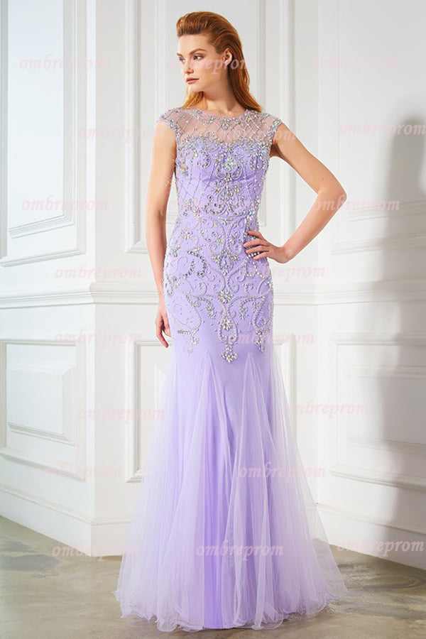 Lavender Trumpet Floor Length Capped Sleeve Sheer Back Beading Prom Dress,Party Dress