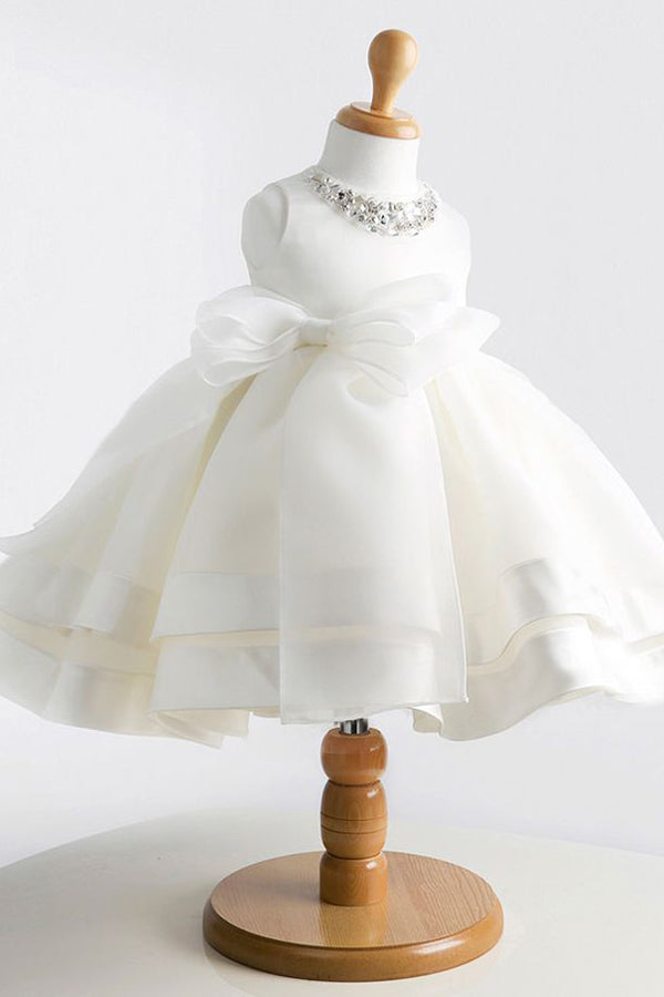 White A Line Floor Length Scoop Neck Sleeveless Crystal Flower Girl Dresses,Baby Dress