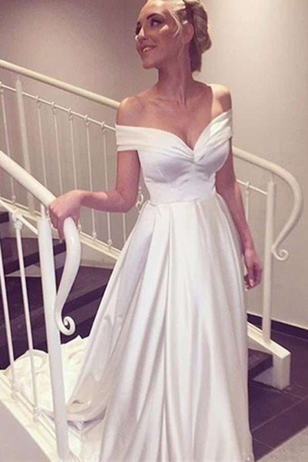White A Line Court Train Off Shoulder Satin Beach Wedding Gown,Cheap Wedding Dress