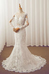 White Mermaid Court Train Long Sleeve Applique Wedding Dress,Perfect Wedding Dress