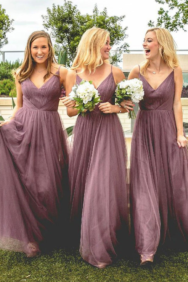 A Line Floor Length Spaghetti Sleeveless Tulle Bridesmaid Dress, Wedding Party Dress B342 - Ombreprom