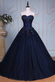 Navy Blue Ball Gown Court Train Sweetheart Strapless Lace Up Beading Prom Dress,Evening Dress