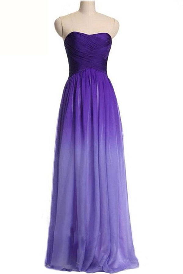 Ombre A Line Brush Train Sweetheart Chiffon Prom Dress,Formal Dress