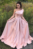 Pink A Line Brush Train One Shoulder Sleeveless Prom Dress,Party Dress