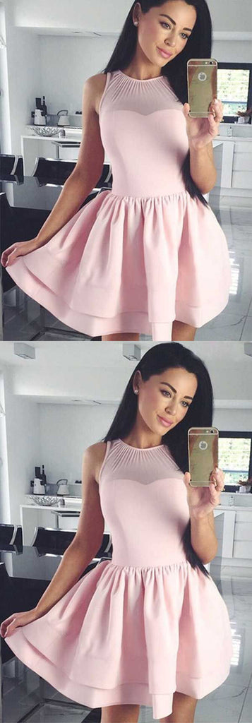 Chic A-Line Crew Sleeveless Short Satin Homecoming Dress M468
