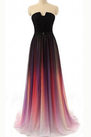 Ombre A Line Sweep Train Strapless Sleeveless Mid Back Prom Dress,Formal Dress