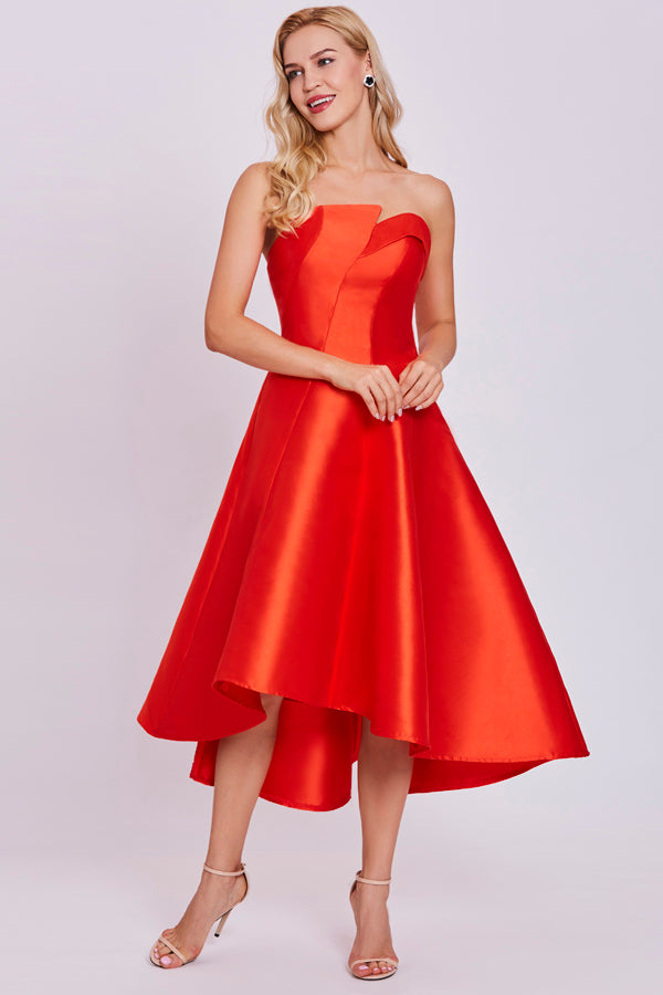 Orange A Line Tea Length Strapless Sleeveless Mid Back Prom Dress,Party Dress
