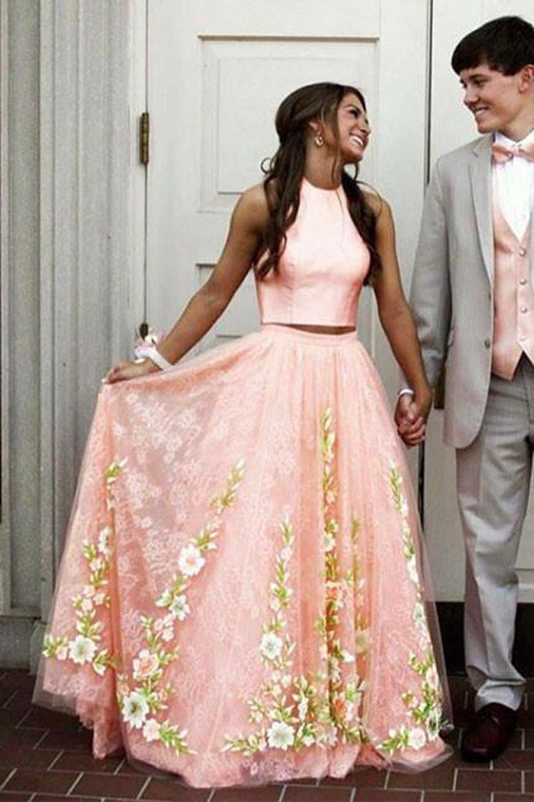 Pink Two Piece A Line Floor Length Sleeveless Floral Prom Dress,Party Dress